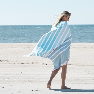 Striped Beach Towel Color: Aqua