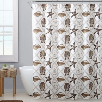 Wouter Royal Bath Crustacio Polyester Shower Curtain Set Color: Beige