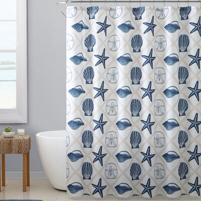 Wouter Royal Bath Crustacio Polyester Shower Curtain Set Color: Blue
