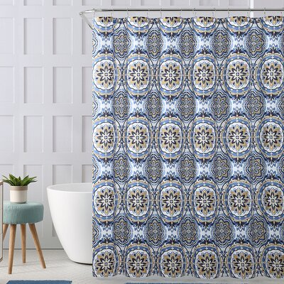 Chervil Royal Bath Floral Mandalla Polyester Shower Curtain Color: Blue/Gold
