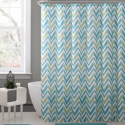 Kallock Royal Bath Chevron Polyester Shower Curtain Color: Blue/Green