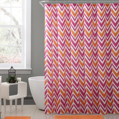 Kallock Royal Bath Chevron Polyester Shower Curtain Color: Orange/Pink