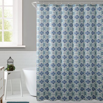 Delvin Royal Bath Floreada Polyester Shower Curtain Color: Blue/Green