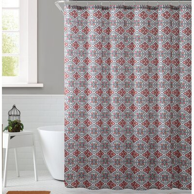 Delvin Royal Bath Floreada Polyester Shower Curtain Color: Coral