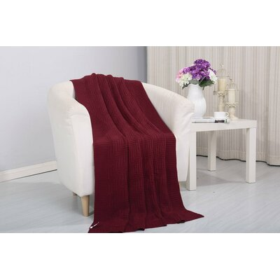 Coggins Solid Classic Woven Knitted Throw Color: Burgundy