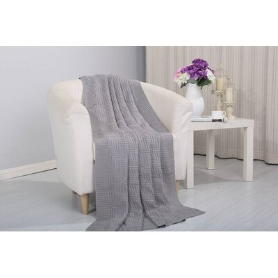 Coggins Solid Classic Woven Knitted Throw Color: Gray