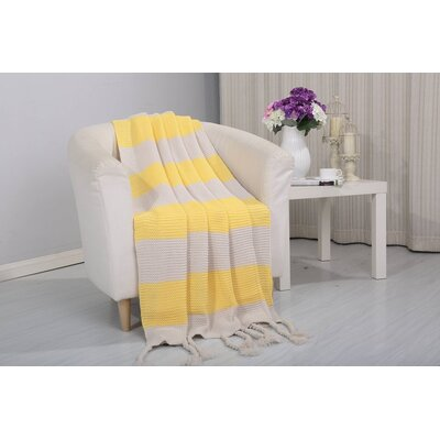 Coggins Classic Woven Knitted 2-Tone Throw Color: Yellow