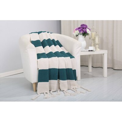 Coggins Classic Woven Knitted 2-Tone Throw Color: Teal