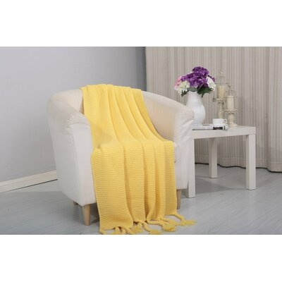 Coggins Classic Woven Knitted Throw Color: Yellow