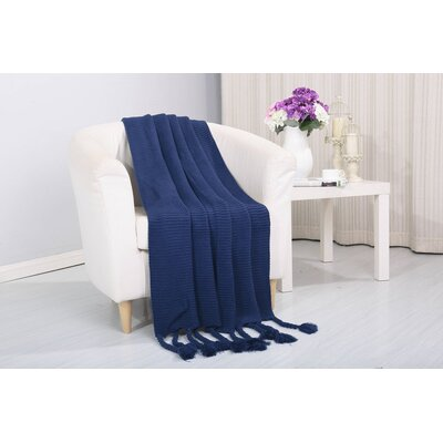 Coggins Classic Woven Knitted Throw Color: Navy