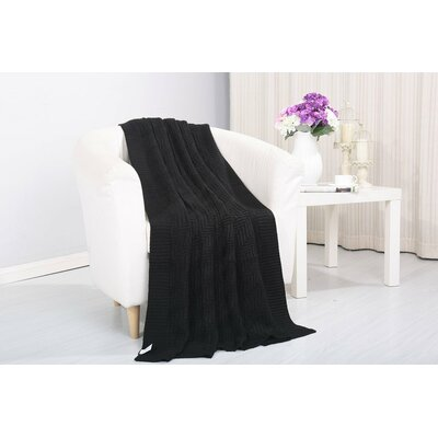 Coggins Solid Classic Woven Knitted Throw Color: Black