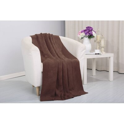 Coggins Solid Classic Woven Knitted Throw Color: Brown