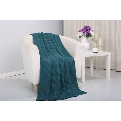 Coggins Solid Classic Woven Knitted Throw Color: Teal