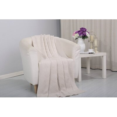 Coggins Solid Classic Woven Knitted Throw Color: Beige