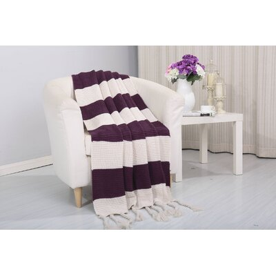 Coggins Classic Woven Knitted 2-Tone Throw Color: Purple