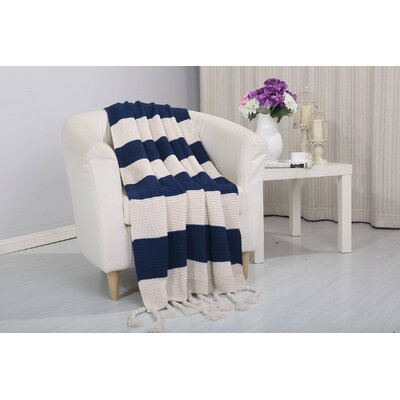 Coggins Classic Woven Knitted 2-Tone Throw Color: Navy