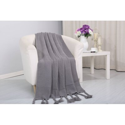 Coggins Classic Woven Knitted Throw Color: Gray