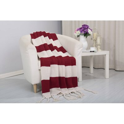 Coggins Classic Woven Knitted 2-Tone Throw Color: Red
