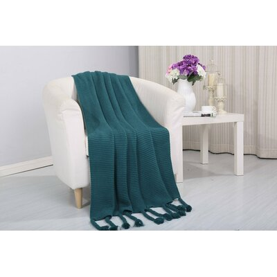Coggins Classic Woven Knitted Throw Color: Teal