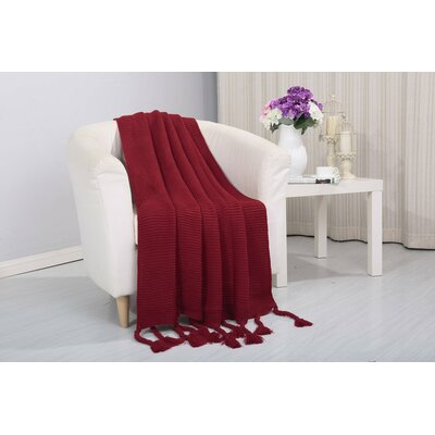 Coggins Classic Woven Knitted Throw Color: Red