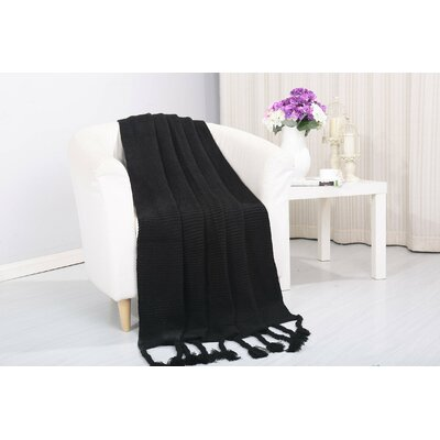 Coggins Classic Woven Knitted Throw Color: Black