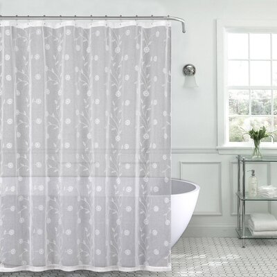 Mirtha Nature/Floral Metallic Daisy Embroidered Sheer Fabric Shower Curtain Color: White