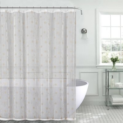 Mirtha Metallic Daisy Embroidered Sheer Fabric Shower Curtain