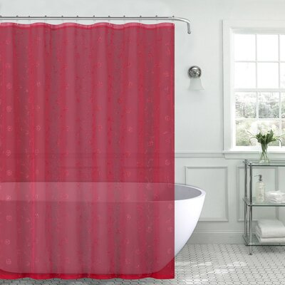 Mirtha Nature/Floral Metallic Daisy Embroidered Sheer Fabric Shower Curtain Color: Red
