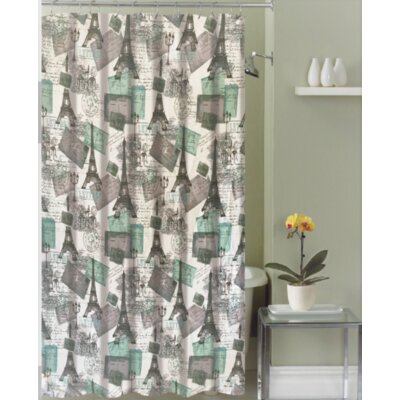Mirtha Post Card Paris Stripe Fabric Shower Curtain