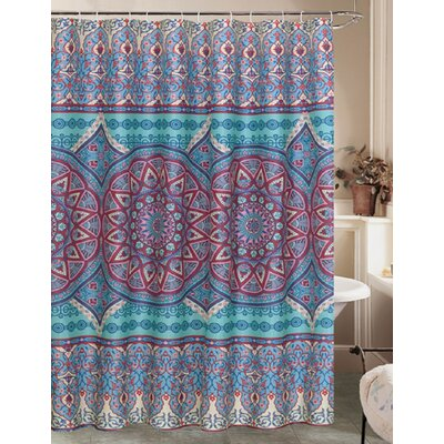 Bintliff Plum Mandala Sun Burst Fabric Shower Curtain