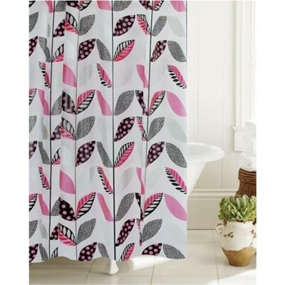 McSheffrey Bath Stripe a Dot Floral Glam Shower Curtain