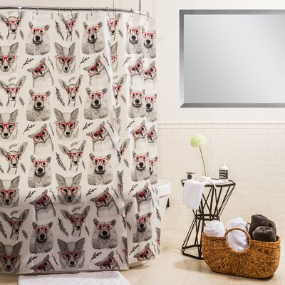 Peva Woodland Creatures Shower Curtain Color: Red