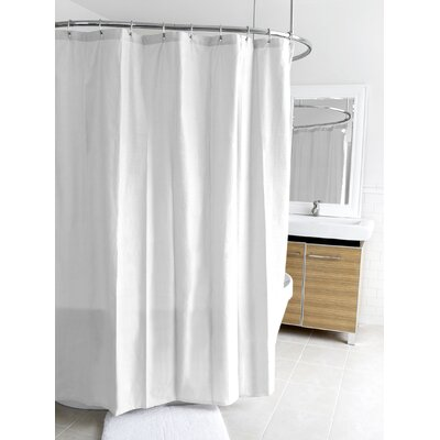 Ella Microfiber Shower Curtain Color: White