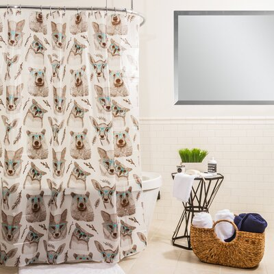 Peva Woodland Creatures Shower Curtain Color: Aqua