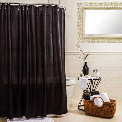 Ella Microfiber Shower Curtain Color: Black