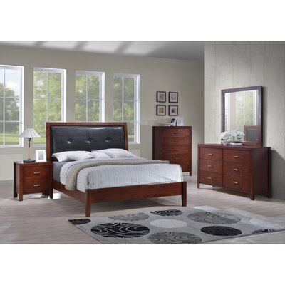Upholstered Panel Bed Size: King, Color: Cherry
