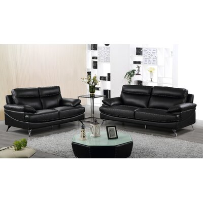 2 Piece Living Room Set Finish: Black/White