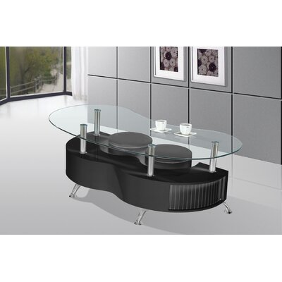 Coffee Table with Nested Stools Color: Black