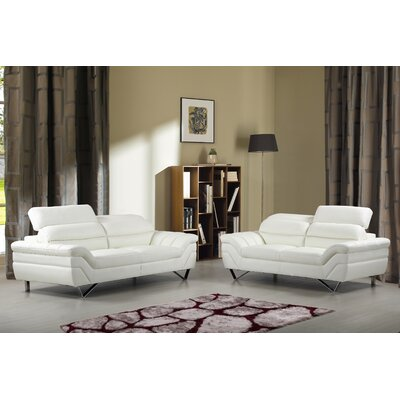 Sofa and Loveseat Set Upholstery: White