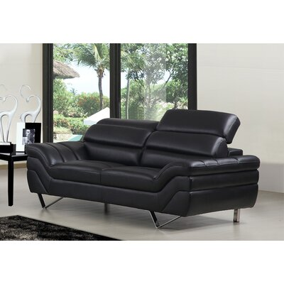 Leather Sofa Color: Black