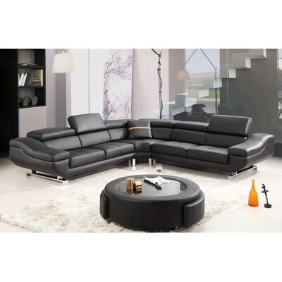 Sectional with Coffee Table Upholstery: Black