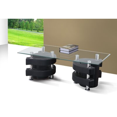 Coffee Table with Nested Stools Base Finish: Black