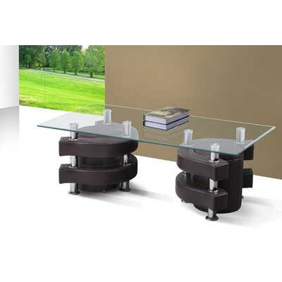 Coffee Table with Nested Stools Base Finish: Brown