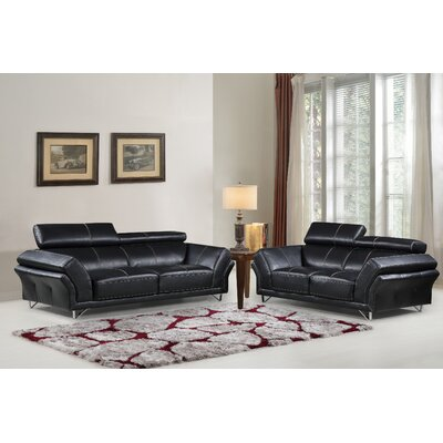 Sofa and Loveseat Set Upholstery: Black