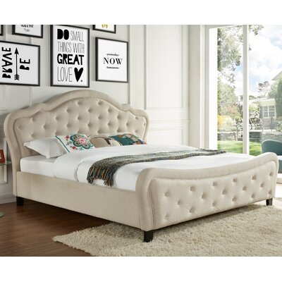 Upholstered Platform Bed Size: Queen, Headboard Color: Beige