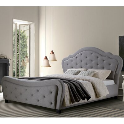 Upholstered Platform Bed Size: California King, Headboard Color: Gray