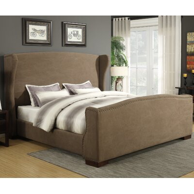 Wingback Upholstered Panel Bed Size: King