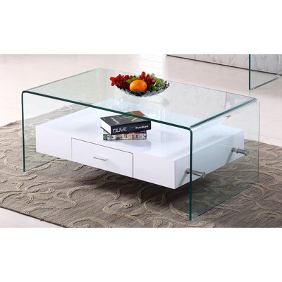 Glass Top Coffee Table Base Finish: White