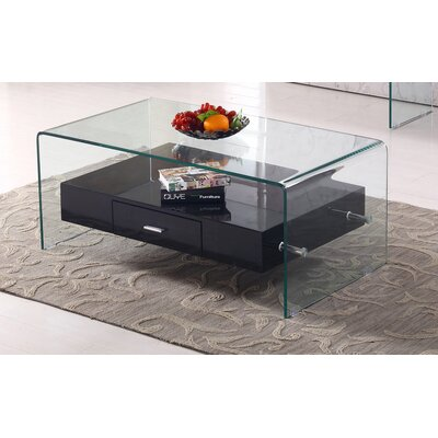 Glass Top Coffee Table Base Color: Black