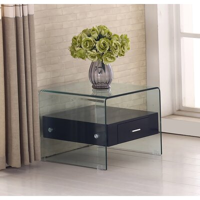 Glass Top End Table Finish: Black